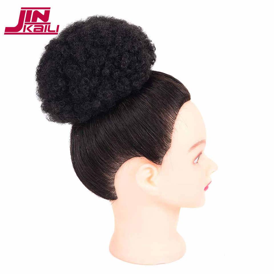Jinkaili alta puff afro encaracolado peruca rabo de cavalo cordão curto afro kinky pônei cauda clip em em extensões de cabelo sintético bun