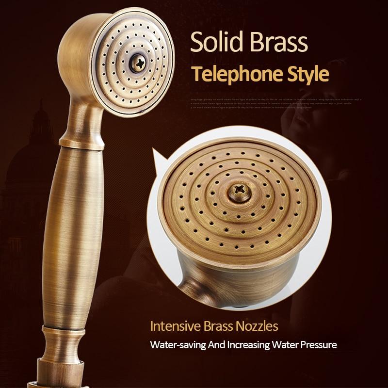 Quyanre Antique Brass Shower Faucets Set Wall Mount Antique Brass Shower Kit Dual Knobs Mixer Tap Handheld Spray Bathtub Kit