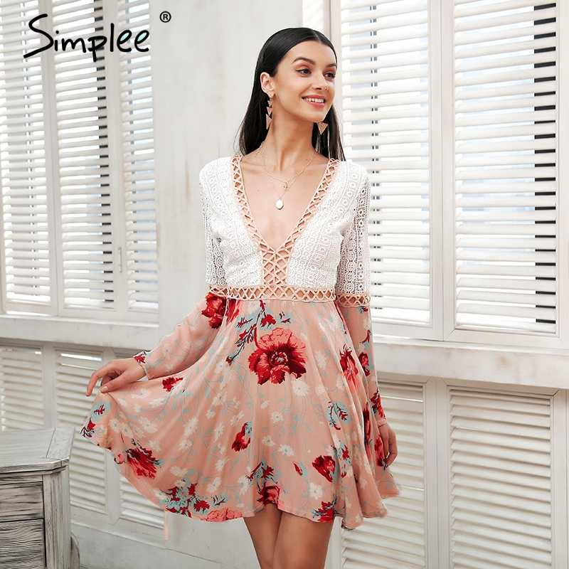 9b368516de Simplee Sexy v neck lace dress women Flare long sleeve boho floral short  dress Hollow out