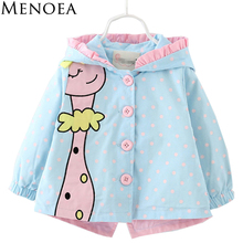 2018 Menoea New Spring Fashion baby girl coats Jackets clothing Baby Clothes cartoon Coats dots hooded Children Outerwear&Coats
