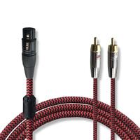 High Fidelity Audio Cable XLR 3 Pin To 2 RCA For Amplifier Mixer 1Meter Double Shielding