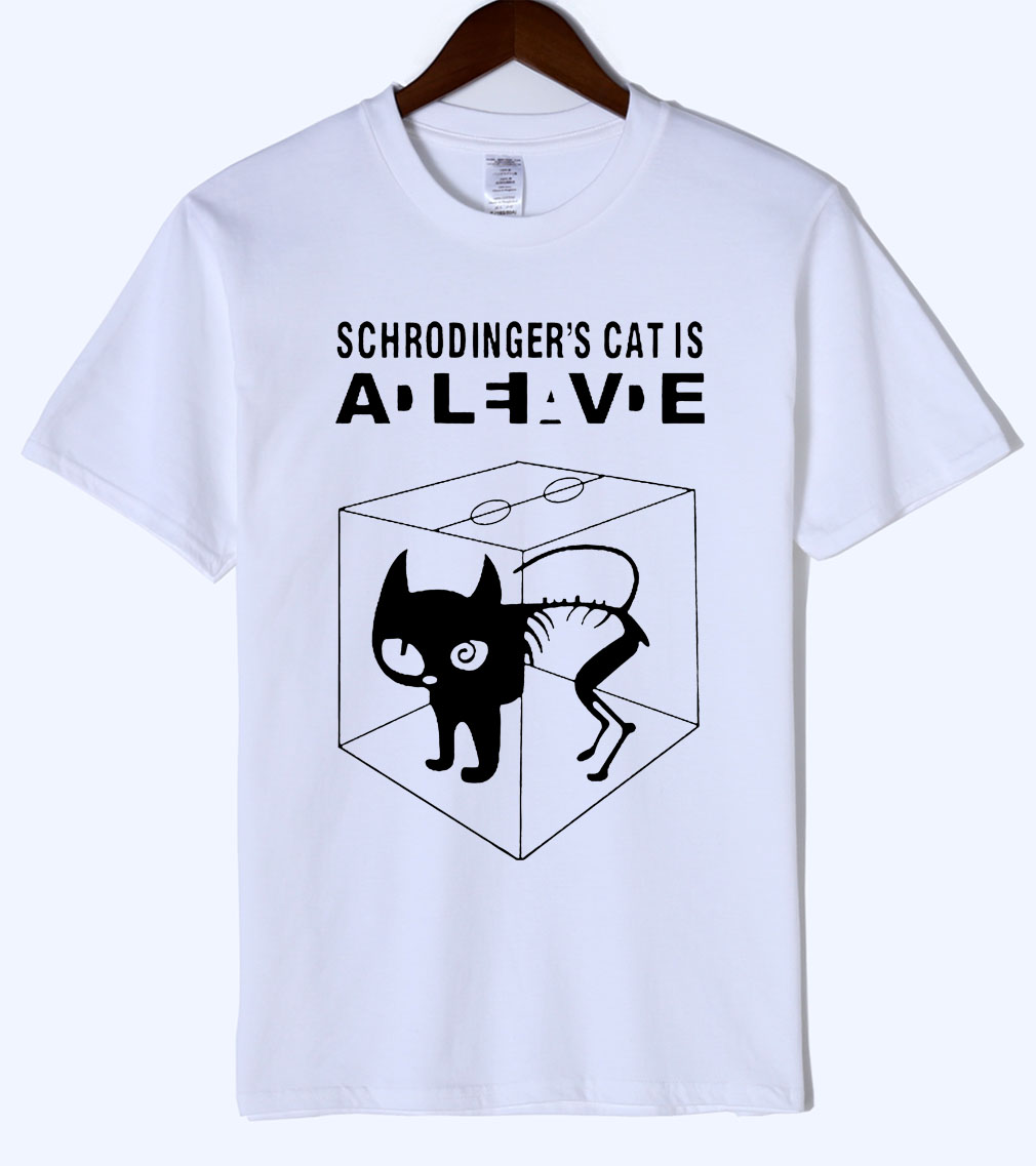 The Big Bang Theory Schrodinger's Cat Mens T Shirts 2018 Animal Cartoon Cat Cotton T Shirt 2018 Summer Mens T-Shirt Adult Tops