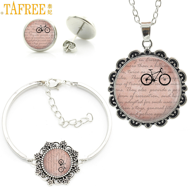 Tafree Vintage Bicycle Bike Photo Jewelry Sets Women Fashion Sports