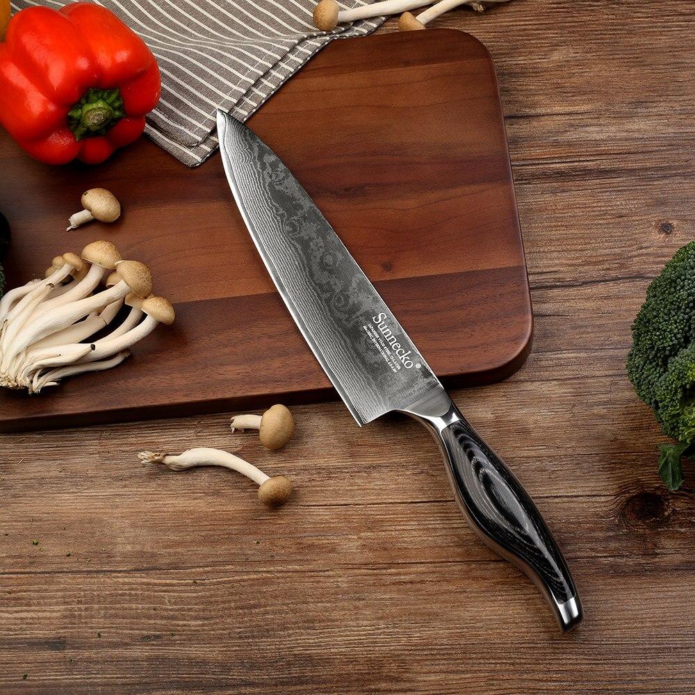 """SUNNECKO 8 """"cal szefa kuchni nóż kuchenny japoński 73 warstw damaszku VG10 stali nierdzewnej ostre ostrze Pakka drewna uchwyt do krojenia narzędzia do cięcia w Noże kuchenne od Dom i ogród na  Grupa 1"""