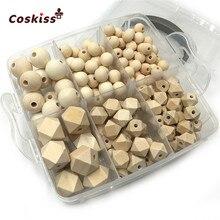 DIY hemşirelik takı kombinasyonu paketi karıştırma doğal yuvarlak geometri altıgen ahşap boncuk bebek diş kaşıyıcı oyuncak seti