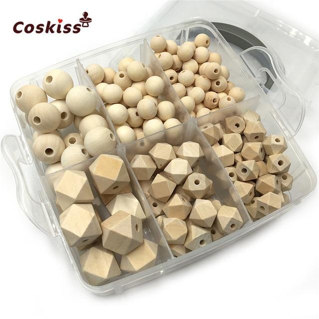 DIY zestaw do pielęgnacji biżuterii zestaw do mieszania naturalnych okrągłych geometrii sześciokątne drewniane koraliki zestaw gryzaki dla niemowląt