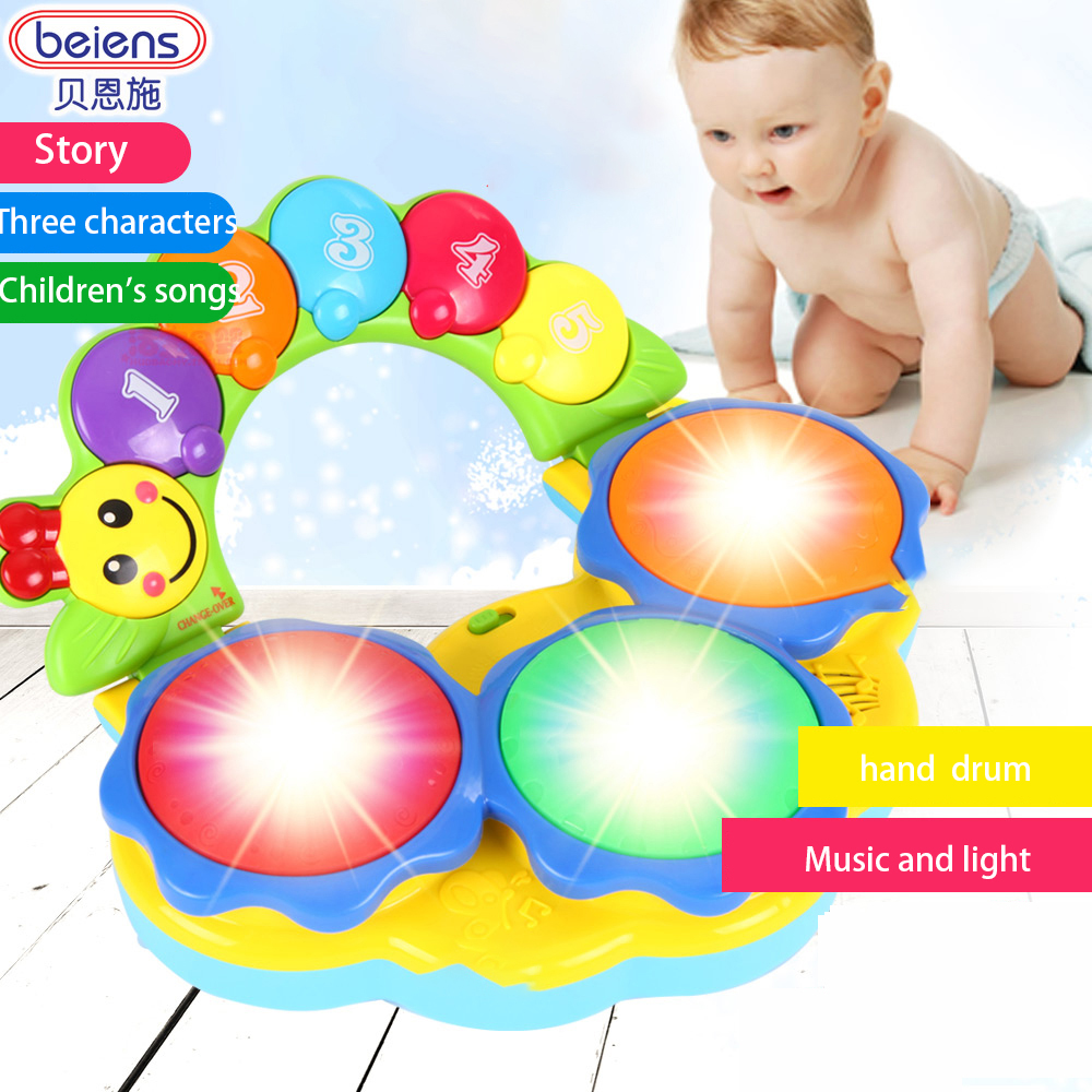 Beiens Electronic Drum Musical Instrument Baby Fitness Hand Drums Toys Kid Color Piano Music Toy Early Education Game With Light цена