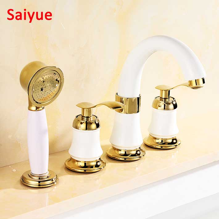 European style Various Deck Mount white and gold Bathtub Faucet 3PCS Bathroom Tub Mixer Tap two Handle with Handshower Cold hotEuropean style Various Deck Mount white and gold Bathtub Faucet 3PCS Bathroom Tub Mixer Tap two Handle with Handshower Cold hot
