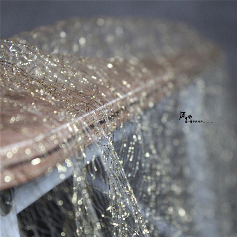 Very nice golden lace material diy sewing 2018 New arrival Gold shiny mesh yarn lace fabric
