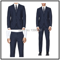 2014 Top Quality 100 Wool Free Shipping Dark Navy Notch Lapel Single Vent Two Buttons Two