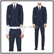 Top Quality 100% wool custom made Dark Navy notch lapel single vent two buttons two piece latest suit design men!!