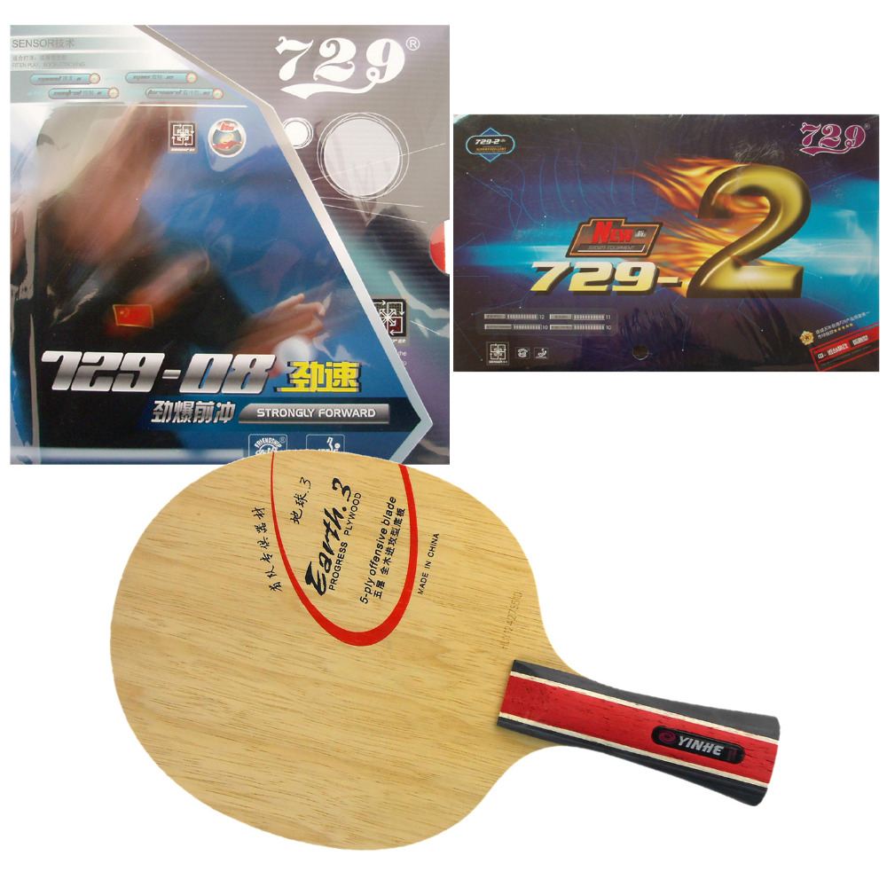 Original Pro Table Tennis/ PingPong Combo Racket:Galaxy Yinhe Earth.3 with RITC 729 08/ New 729 2 Shakehand Long Handle FL