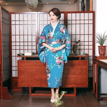Ropa de actuación de escenario mujer Kimono vestido tradición satén Yukata con Obi azul japonés Cos estilo novedad Bata