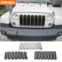 SHINEKA Stickers Front Grille for Jeep Wrangler JK 2007 2017 Frame Grill Chrome Trim M esh Buckle Ring Front Vent Decorative