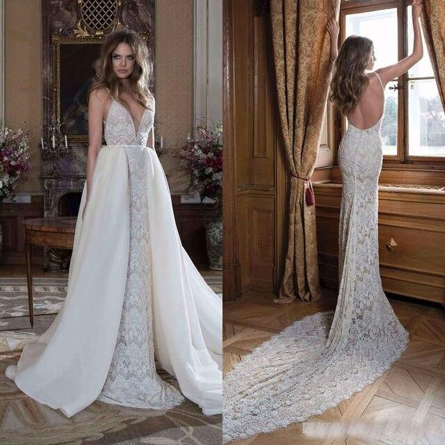 White Backless Lace Mermaid Wedding Dresses 2018 V Neck: Sexy V Neck Spaghetti Straps Ivory/White Mermaid Lace