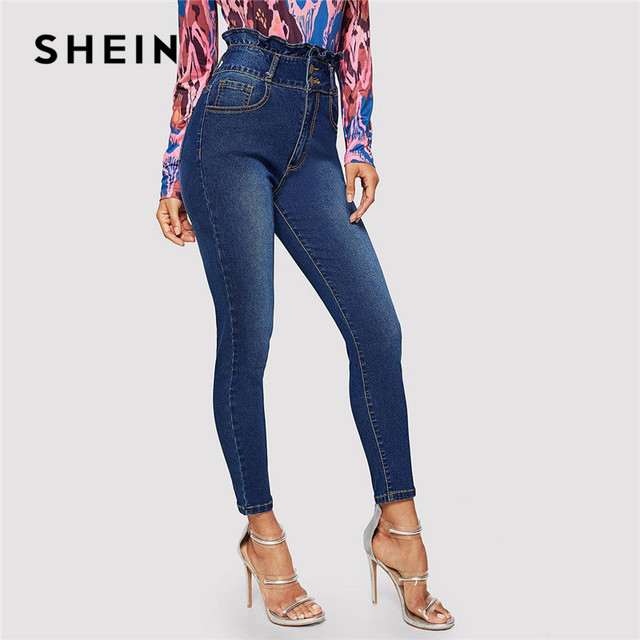 c892c3c370 SHEIN Navy Ruffle High Waist Button Front Skinny Jeans Weekend Casual Solid  Pants Summer Women Going Out Trousers
