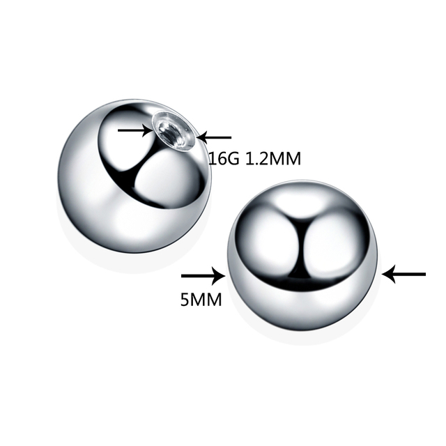 100pcs//lot 16G 14G Steel Screw Balls Spike Accessories For Lip Nipple Eyebrow Piercings Tongue Labret Bar Replacement Piercing,Silver Ball,1.2x5mm