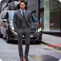 Latest Coat Pant Designs Grey Men Suits Tweed Peaked Lapel Double Breasted Vest Smoking Jacket Male Blazers Terno Masculino