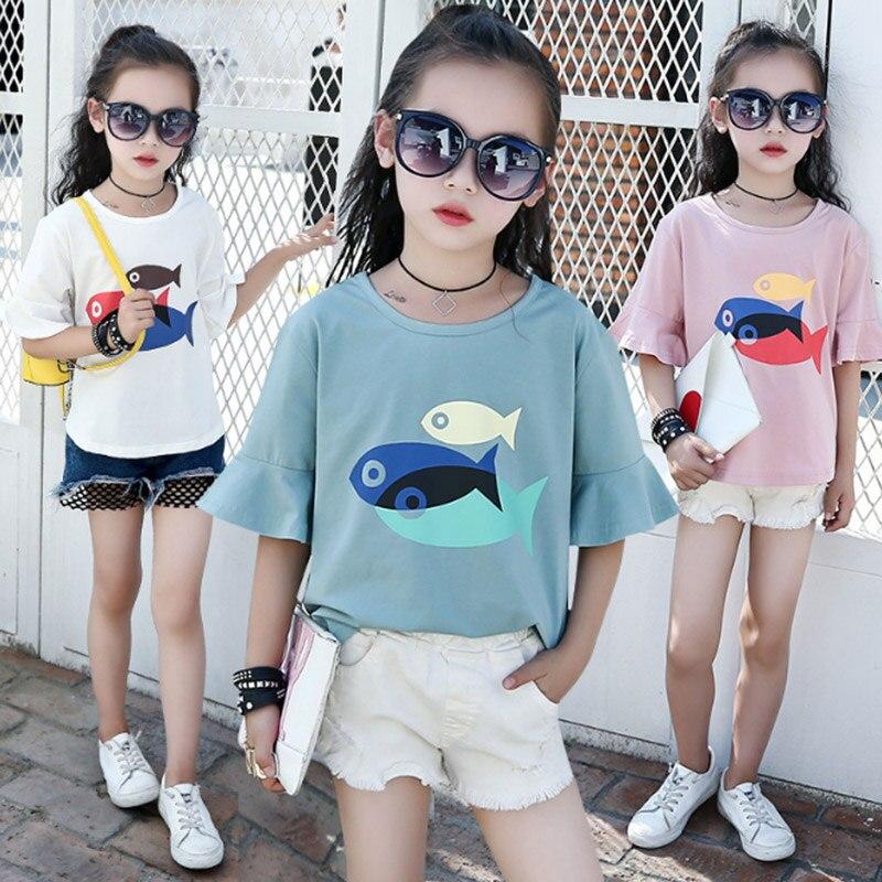 2018 Baby girls clothes t-shirt cotton cartoon 3 fish girls tops Summer leisure children Short sleeve t shirts 3 6 8 10 11 years цена и фото