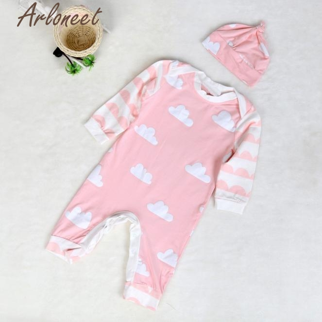 ARLONEET Baby Girl Newborn Baby Long Sleeve Romper Hat Outfits Clothes Baby Sets P30 Jan03