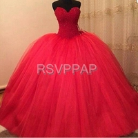 Long Puffy Prom Dresses 2016 Elegant Ball Gown Sweetheart Sparkly Beaded Floor Length Girl Red Tulle