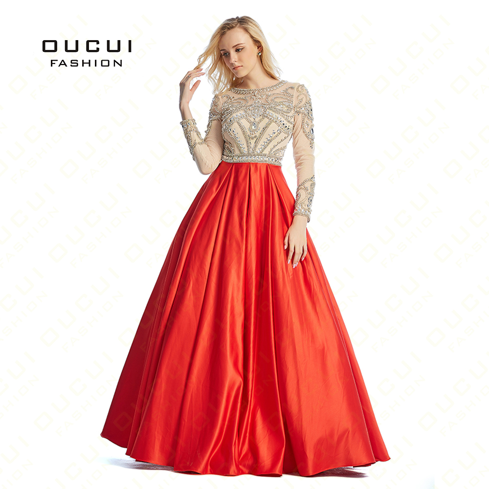 Ball Gown Red Color Sexy Close Back Hand Long   Evening     Dress   Party Formal   Dresses   OL102856 Real Photos Long sleeve Full Crystal