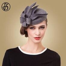6b51acfb754 FS Flower Fascinators For Women Elegant Grey Black Pillbox Hat Wool Wedding  Felt Hats Vintage Ladies Winter Dress Fedoras