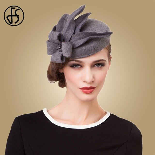 FS flor tocados para las mujeres elegante gris negro sombrero de lana boda  sombreros Vintage vestido 2559fe725357