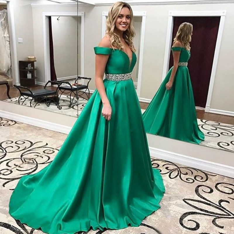 Vestidos de festa 2019 Green Long Prom Dress A Line Off the Shoulder Plunging V Neck Formal Gown Pageant Dresses with Beading