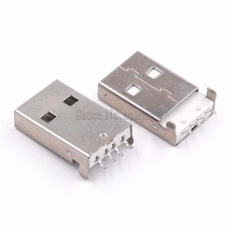 10PCS USB 2.0 Male A Type USB PCB Connector Plug 180 Degree SMT Male USB Connectors 4Pins SMD