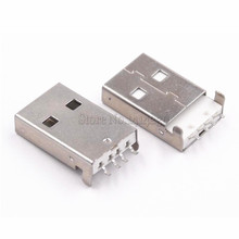 10PCS USB 2.0 Male A Type USB PCB Connector Plug 180 degree SMT Male USB Connectors 4Pins SMD