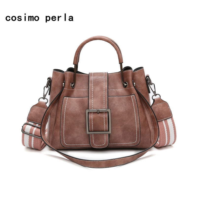 Soft Leather Crossbody Shoulder Bags for Girls Fashion Korea Wide Strap Belt Vintage Ladies Handbags 2018 Women Satchels Tote