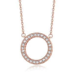 Круглый Ажурный кулон и ожерелье 45 см, розовое золото, ювелирные изделия, элегантное ожерелье для женщин, модные ювелирные изделия