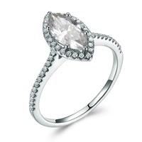 14k White Gold 5x10mm Marquise Cut Moissanite Diamond Halo Thin Band Women Engagement Ring Wedding Rings