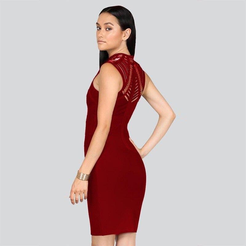 Gros Celebrity Creux Vintage Nouveau Con Paillettes Club Vente Noir Robes Halter Manches rouge Style En Sexy Sans Chaude Bandage Corps X7YwT