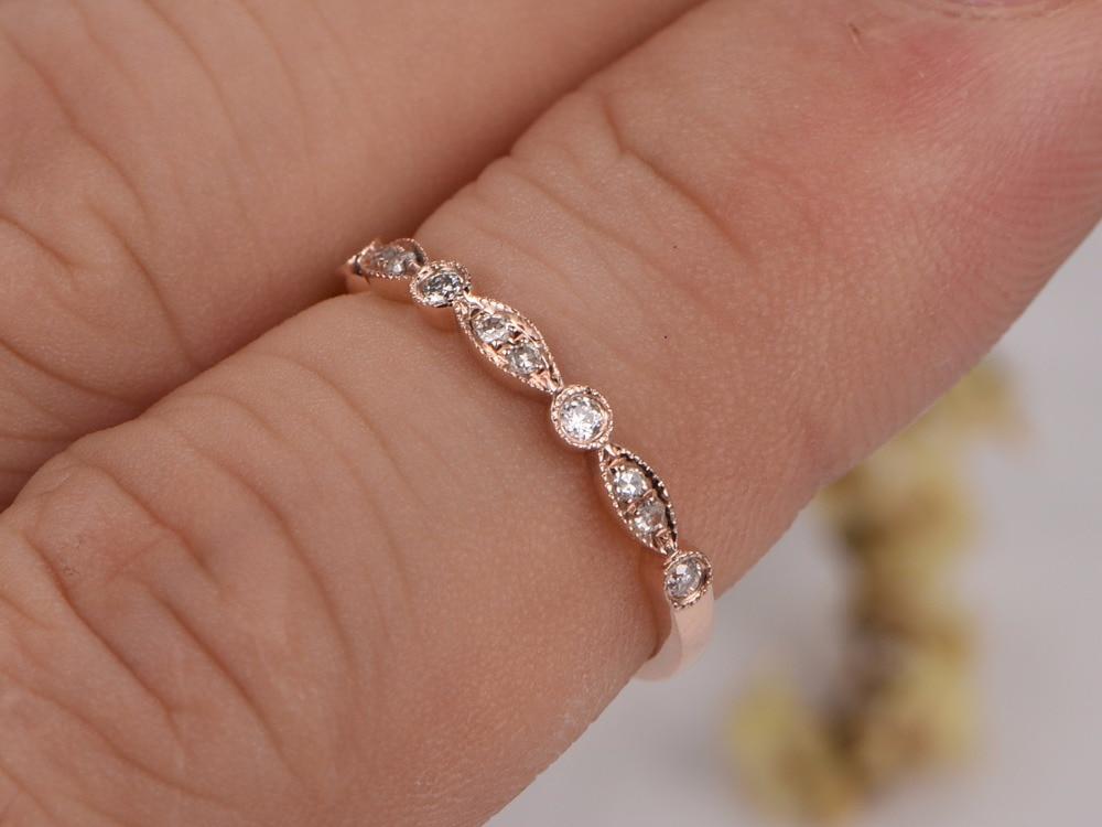 MYRAY Wedding Bands Diamond Engagement Ring Bezel Set Milgrain