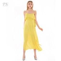 PK 2017 Yellow Maxi Women Dresses Long Summer Dress Bandage Dress Vestidos Mujer Boho Robe Gown