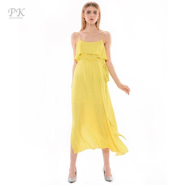8f8fc62fd570 PK 2017 Giallo Maxi Vestiti Delle Donne Lungo Vestito Da Estate Vestidos  Vestito Dalla Fasciatura Mujer