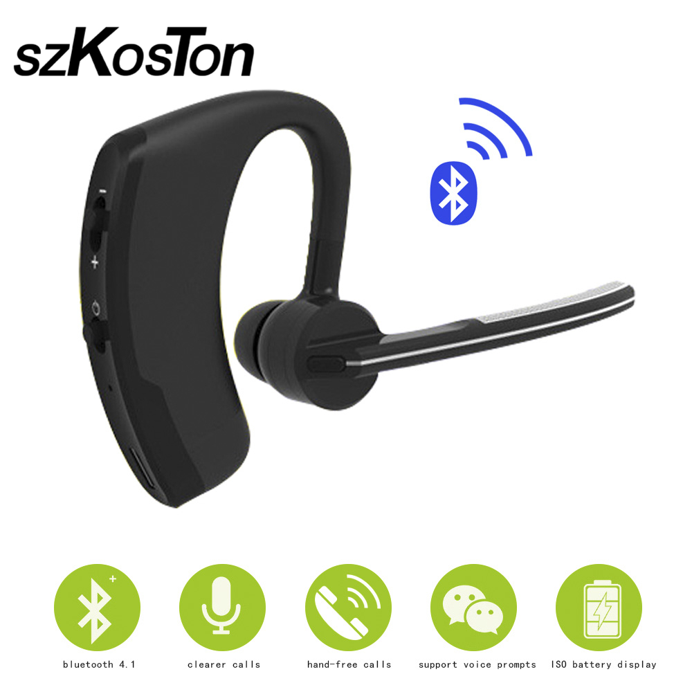 Original Handsfree Business Wireless Bluetooth Headset With Mic Voice Control Earphone Driver Sport For Iphone 7 6S 6 5S 5 4 2017 new stereo wireless bluetooth 3 0 handsfree headset earphone with charging cable for iphone 6 samsung