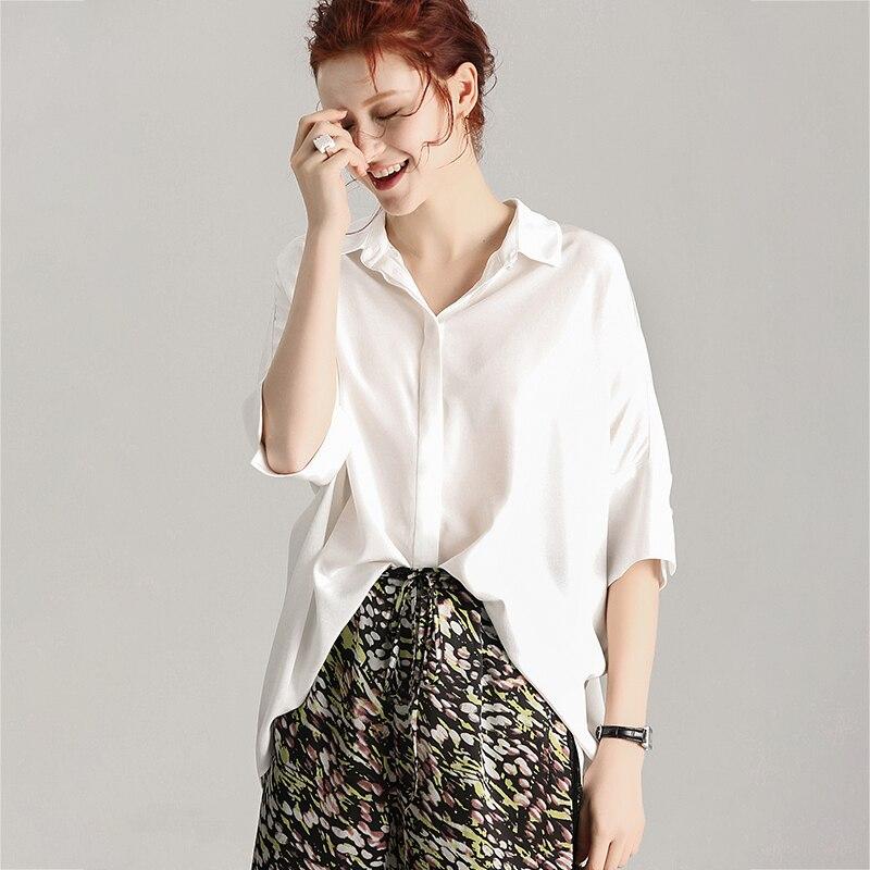 Femmes Blouse 30mm 100% réel soie crêpe blanc lâche Blouse chemise à manches mi-longues soie Blouses 2019 automne bureau dame Blouse - 2