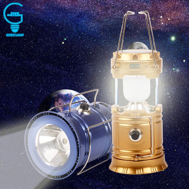 Ricaricabile Lanterna per il Campeggio Trekking di Illuminazione Di Emergenza di Energia solare Portatile Pieghevole Lanterna Tenda Esterna Luce di Campeggio