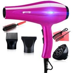 Secador de cabelo profissional elétrico para cabeleireiro de baixo nível de ruído uniformemente quente vento viagem secador de cabelo 220 v compacto d43