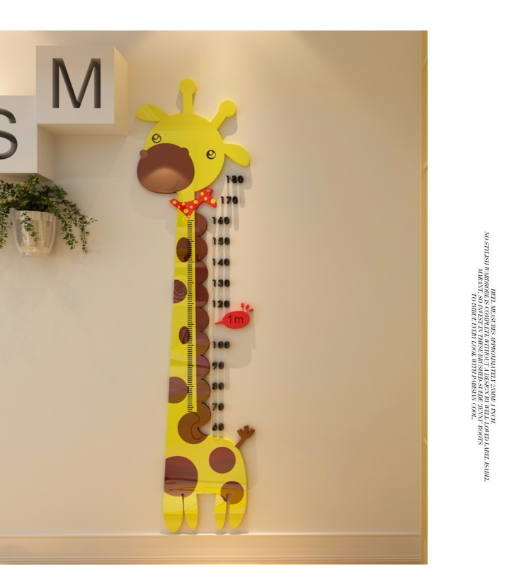 Wall Sticker Home Decor Giraffe Height Measure Chart Room Ruler Kids N8A8