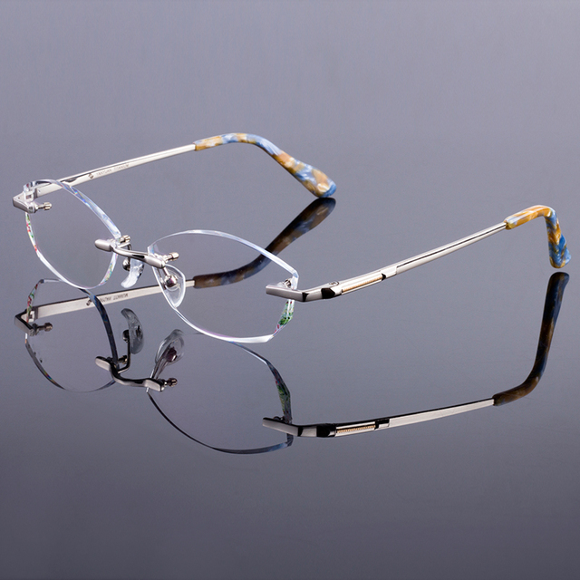 New Luxury Women Style Frame Trendy Titanium Alloy Optical Frame Diamond Trimming Cut Rimless Spectacles With Colorless Lenses