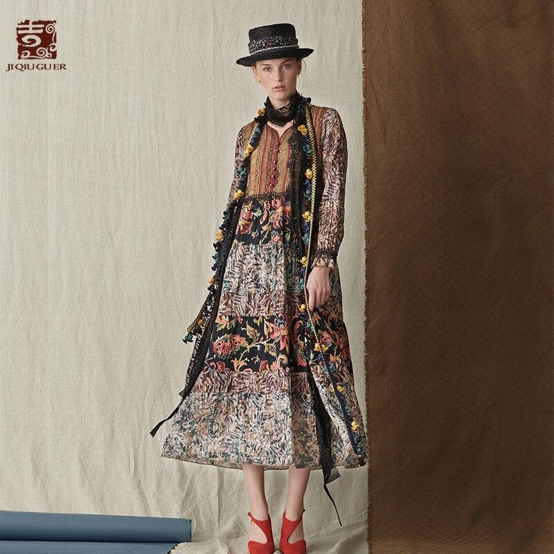 Jiqiuguer Для женщин осень Цветочный Повседневное длинный рукав Длина платья лоскутное печати с v образным вырезом пуловер до середины икры плю