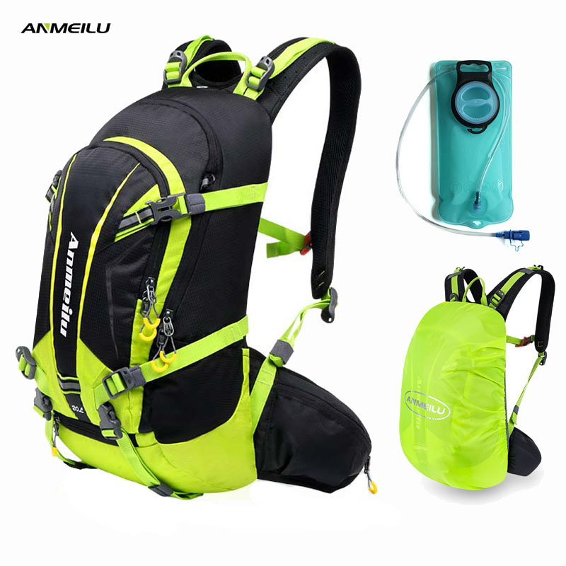 ANMEILU 2L Water Bag 20L Camping Backpack Waterproof Hiking Cycling Climbing Hydration Backpack Water Bladder Sports
