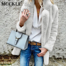 MCCKLE Women's Turn Down Collar Faux Fur Coat 2018 Autumn Winter Female Long Sleeve Warm Jacket Ladies Plus Size Thick Overcoat