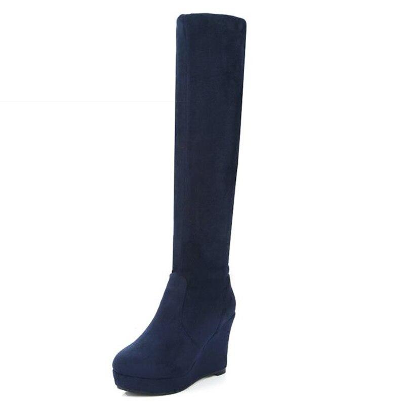 ФОТО 2017 Slip On Add Fur Fall Winter Boots Platform Knee High Women Boots Wedges High Heels Female Footwear Flock Shoes Woman