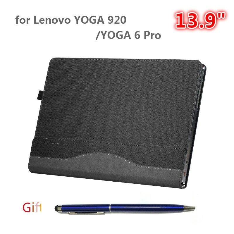 のための Lenovo のヨガ 920 13.9 インチノートブックスリーブヨガ 6 プロ Pu レザー保護カバーとしてスタイラスギフト  グループ上の パソコン & オフィス からの タブレット & 電子書籍ケース の中 1