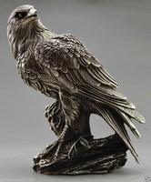 TNUKK Collectible Decorated Old Handwork Tibet Silver Carve Eagle On Tree Box & Statue metal handicraft.